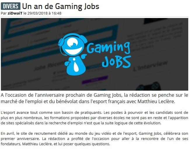 Logo du partenaire Un an passé pour Gaming Jobs - aAa