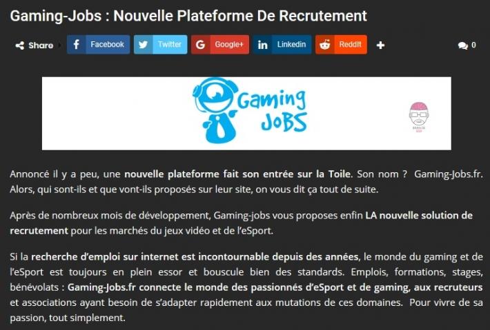 Logo du partenaire Gaming Jobs : nouvelle plateforme de recrutement - Brain de Geek